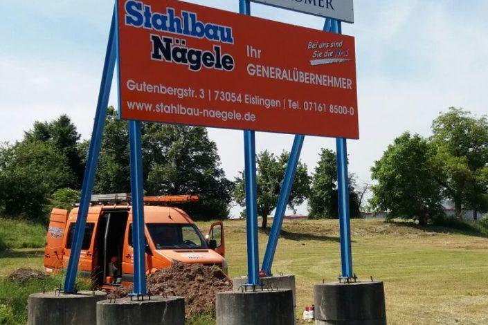 SF-Bau-Bauschild-Neubau Lagerhalle-Mainhard-Stahlbau-Schlüsselfertigbau