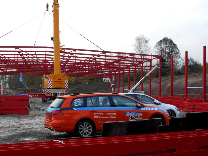 SF-Bau-Stellung Stahlkonstrukrion-Neuabu Lagerhalle-Mainhardt-Stahlbau-Schlüsselfertigbau
