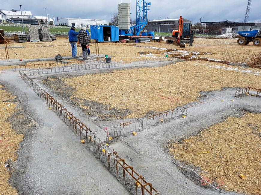 SF-Bau-Beginn Stahlbetonarbeiten-Neubau Autohaus mit Ausstellungsraum-Böhmenkirch-Stahlbau-Schlüsselfertigbau