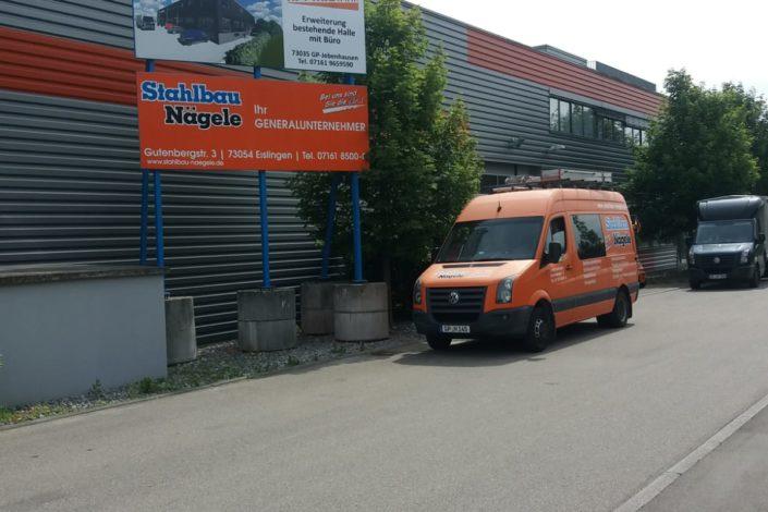 SF-Bau-Bauschild-Erweiterung best. Halle mit Büro-Göppingen-Jebenhausen-Stahlbau-Schlüsselfertigbau