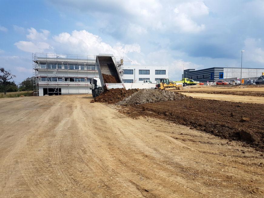 SF-Bau-Erdarbeiten-Neubau Produktionshalle mit Büro- und Sozialräumen-Kirchheim-Stahlbau-Schlüsselfertigbau