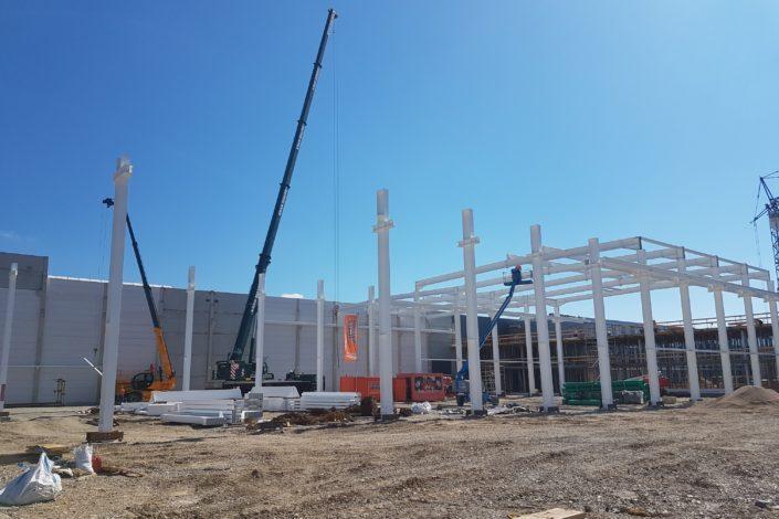 I-Bau-Montage Stahlbau-Neubau Montagehalle mit Bürogebäude-Salach-Komplettbau-Industriebau