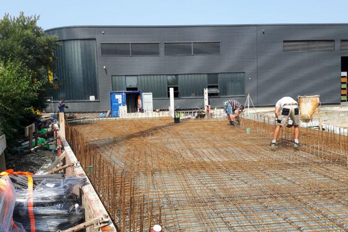 SF-Bau-Bodenplatte-Anbau Wareneingangshalle mit Sozialräumen-Eislingen-Stahlbau-Schlüsselfertigbau