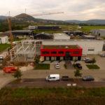 SF-Bau-Stahlbauarbeiten-Drohnenflug-Anbau best. Halle-Zell-Stahlbau-Schlüsselfertigbau