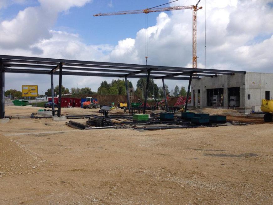 Stahlbau-Stahlbaumontage-Neubau Automatentankstelle-Wertingen