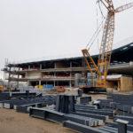 I-Bau-Stahlkonstruktion-Trapezblechverkleidung-Fassade-Neubau Möbelhaus-Stahlbau-Komplettbau-Industriebau