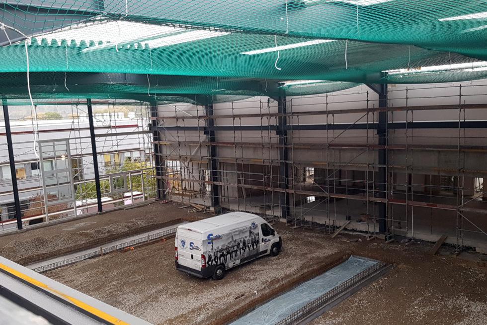 SF-Bau-Trapezblech und Mauerarbeiten-Erweiterung best. Halle mit Büro-Jebenhausen-Stahlbau-Schlüsselfertigbau