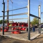 SF-Bau-Montagebeginn-Neubau Produktionshalle-Schkeuditz-Stahlbau-Schlüsselfertigbau