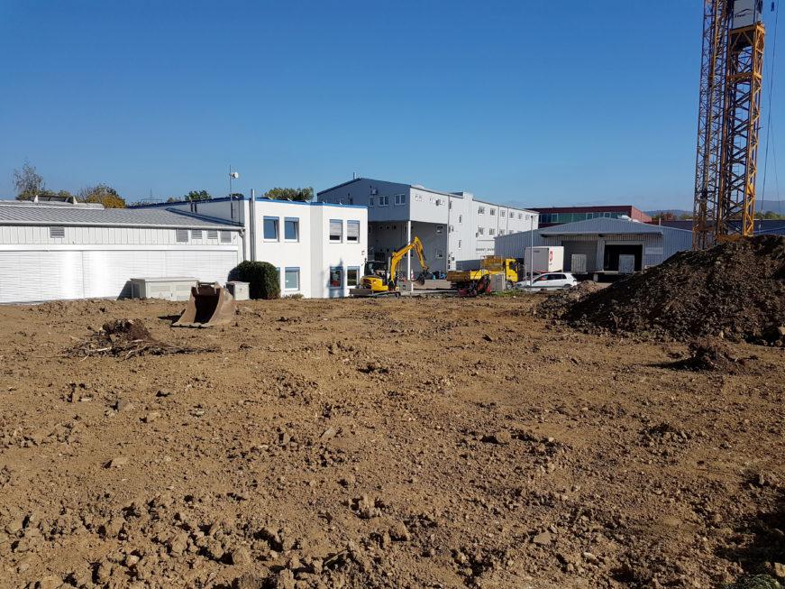 SF-Bau-Beginn Rohbau-Anbau Halle-Eschenbach-Stahlbau-Schlüsselfertigbau