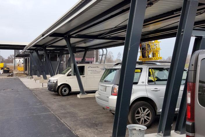 Stahlbau-Überdachung Neubau Automatentankstelle-Wertingen