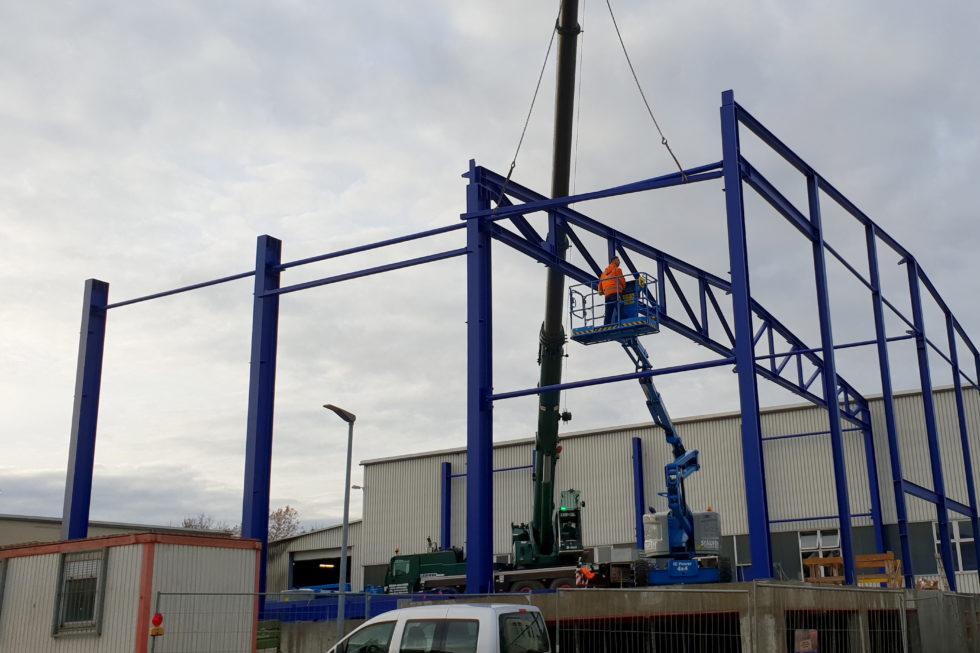 SF-Bau-Stahlbaustellung-Anbau Halle-Eschenbach-Stahlbau-Schlüsselfertigbau
