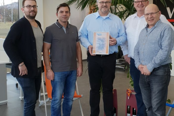 SF-Bau-Abnahme und Urkundenübergabe-Anbau best. Lagerhalle-Zell-Stahlbau-Schlüsselfertigbau