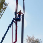Stahlbau-Stützen ausbetonieren-Neubau Sport- und Familienbad-Konstanz