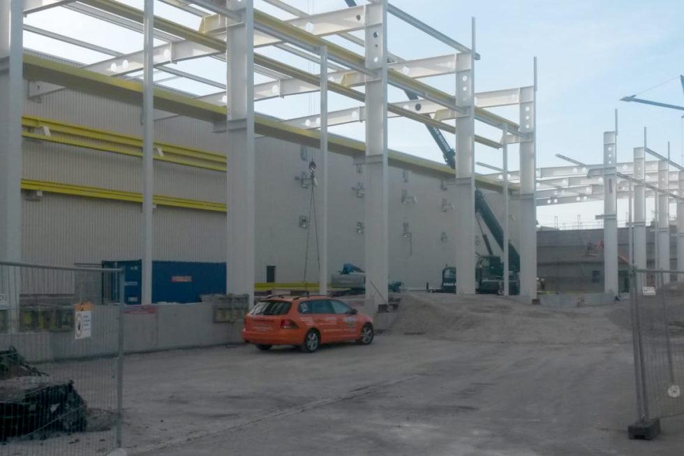 Stahlbau-Stahlkonstruktion Hallenerweiterung-Nürtingen