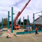 SF-Bau-Stahlbaumontage-Stellung Stahlkonstruktion-Neubau Lagerhalle-Nellingen-Stahlbau-Schlüsselfertigbau