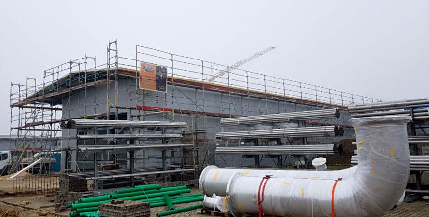 SF-Bau-Montage Isowand und Isodach-Neubau Lagerhalle-Nellingen-Stahlbau-Industriebau-Schlüsselfertigbau