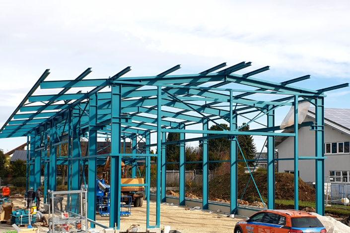 SF-Bau-Stahlkonstruktion-Neubau Lagerhalle-Nellingen-Stahlbau-Schlüsselfertigbau
