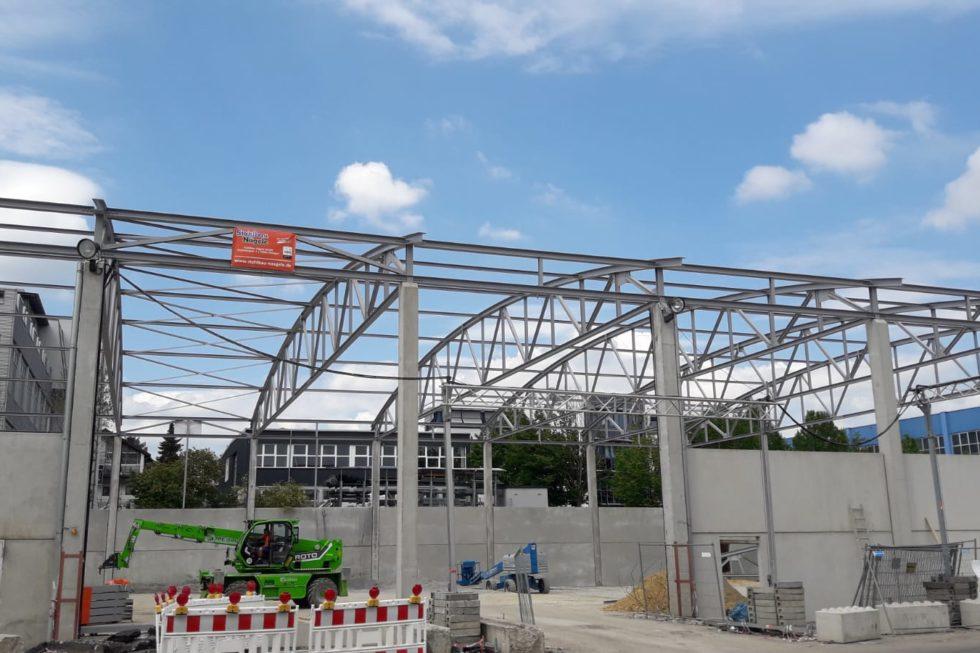 I-Bau-Stellung Stahlkonstruktion-Neubau Halle-Waiblingen-Stahlbau-Industriebau