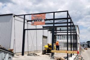 Stahlbau-Stellung Stahlkonstruktion-Ebersbach-Erweiterung Halle21