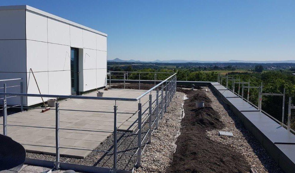 SF-Bau-Erweiterung Dachterrasse-Innenausbau-Neubau Produktionshalle mit Büro-Albershausen-Stahlbau-Schlüsselfertigbau