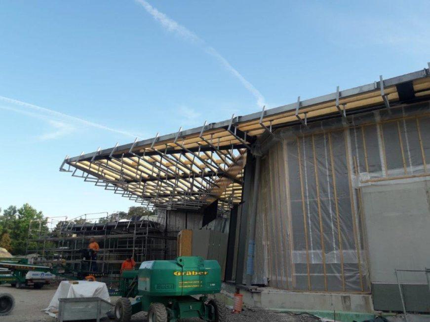 Stahlbau-Bauabschnitt 2 fertiggestellt-Neubau Sport- und Familienbad-Konstanz Schwaketenbad-Stahlbau