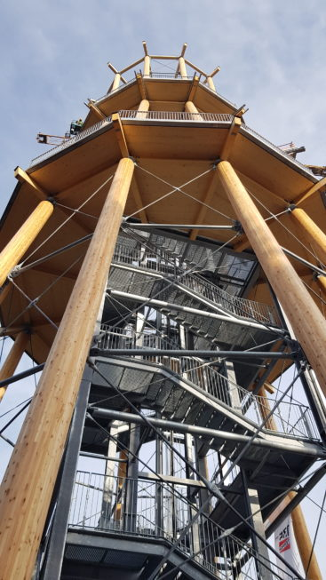 Stahlbau-Montage Strahlenträger-Neubau Aussichtsturm-Schömberg-Stahlbau
