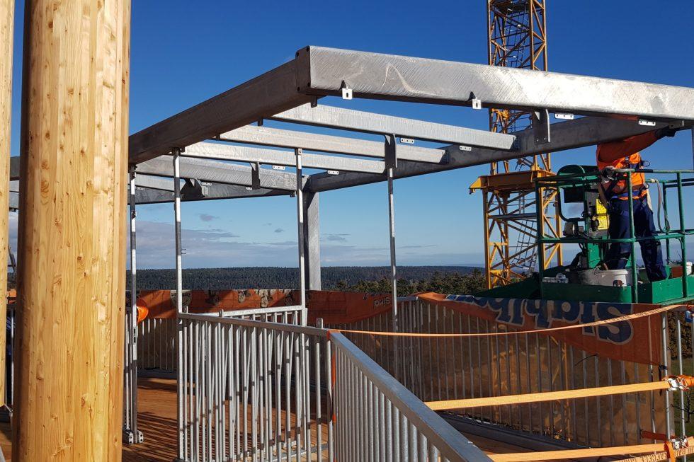 Stahlbau-Absprungbereich Flyline-Neubau Aussichtsturm-Schömberg-Stahlbau