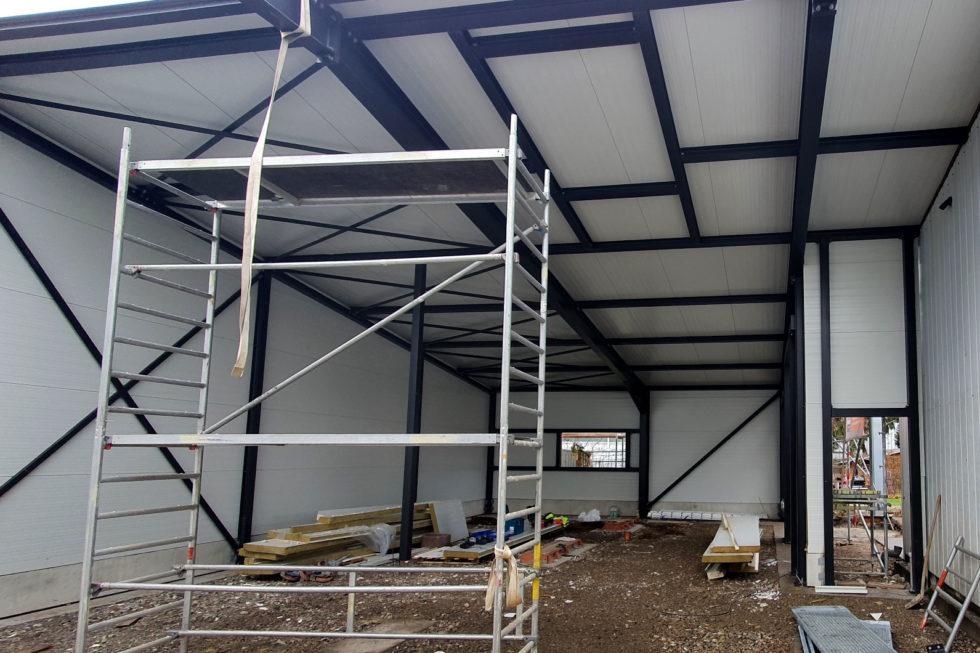 SF-Bau-Dachmontage-Verlängerung Servicehalle-Kirchheim-Schlüsselfertigbau