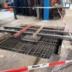 SF-Bau-Löcher für Bodenstützen-Stahlbau Nägele-Erweiterung Aufstockung-Eislingen-Schlüsselfertigbau