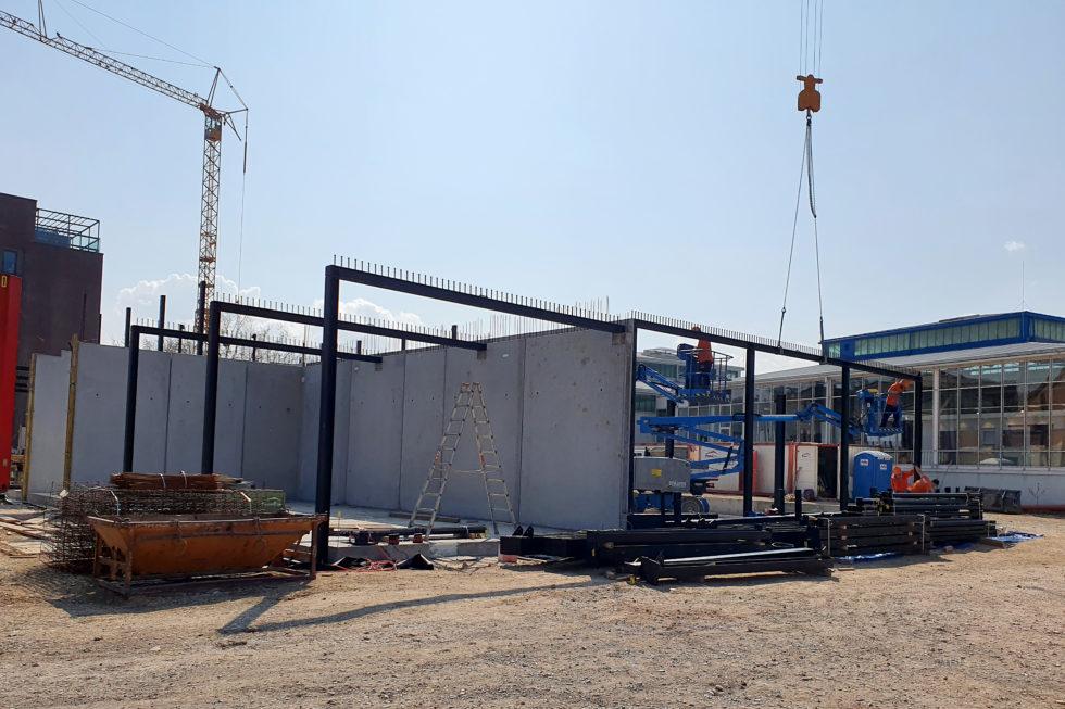 SF-Bau-Start Stahlbauarbeiten-Neubau Fitness und Werkstatt-Eislingen-Schlüsselfertigbau