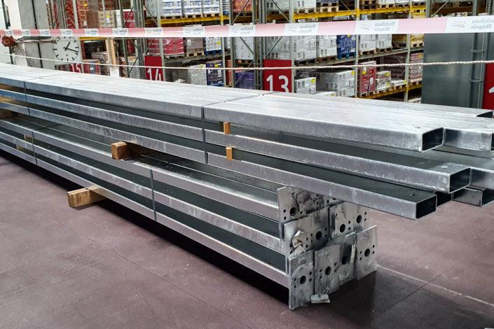 Stahlbau-Stützen für Gitterwand-Umbau Logistikzentrum-Wiesloch-Stahlbau