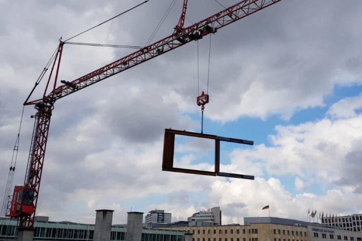 Stahlbau-Fliegender Stahlträger-Konstruktive Stahlbauarbeiten am Bahnhof-Stuttgart-Stahlbau